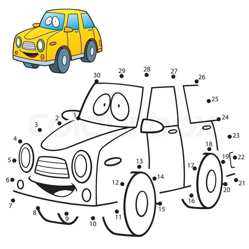 vector illustration of education dot to dot game car stock