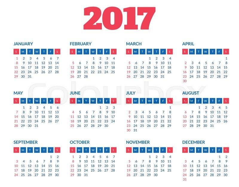 Simple 2017 year calendar
