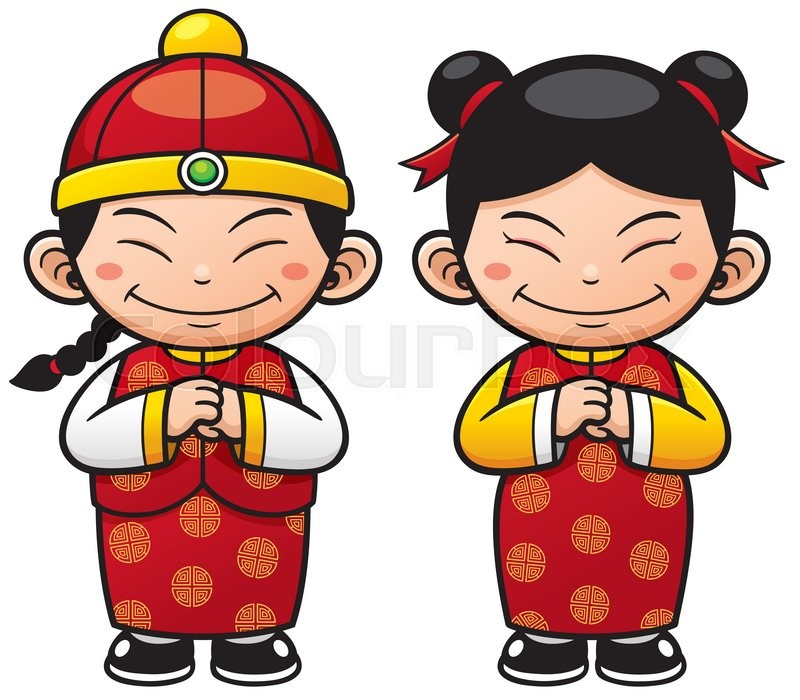 Vector illustration Chinese Kids cartoon | Stock Vector ...