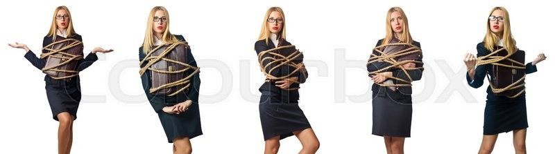 Stock image of 'Woman tied up isolated on the white background'