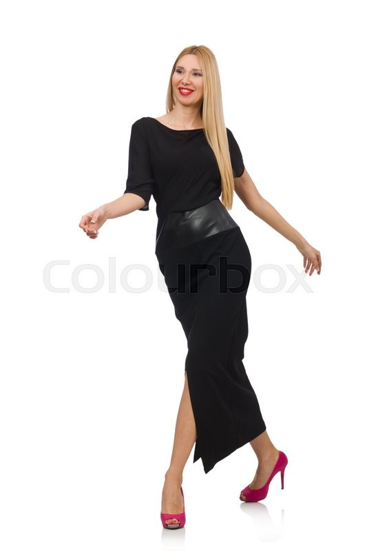 Stock image of 'Woman in black evening dress isolated on white'