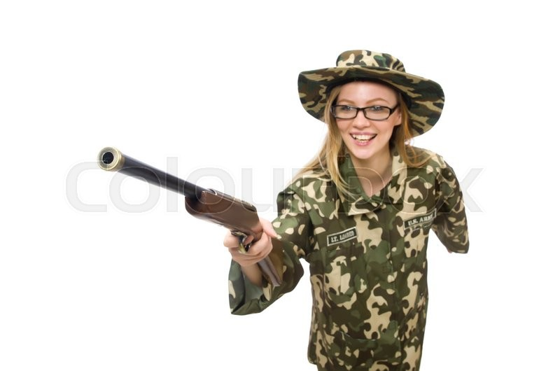 Stock image of 'Girl in military uniform holding the gun isolated on white'