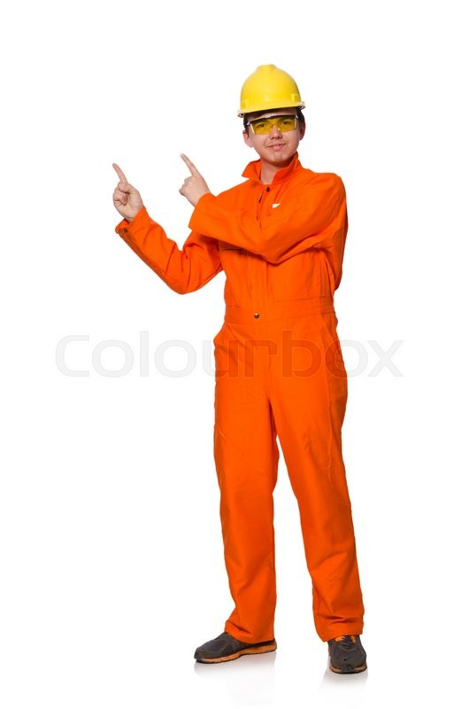 Stock image of 'Man in orange coveralls isolated on white'