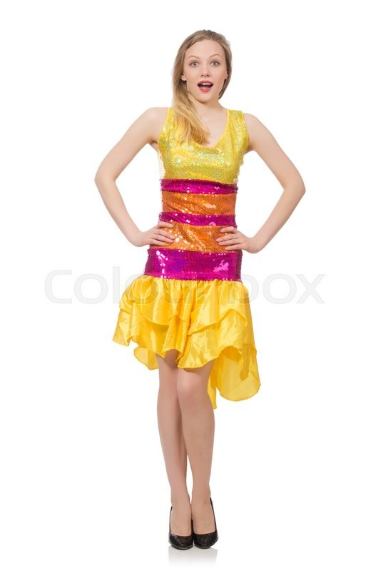 Stock image of 'Woman in funny sparkling yellow dress isolated on white'