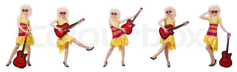 Stock image of 'Young singer with afro cut and guitar'