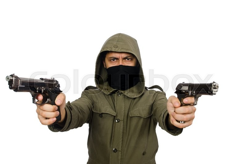 Stock image of 'Masked man in criminal concept on white'