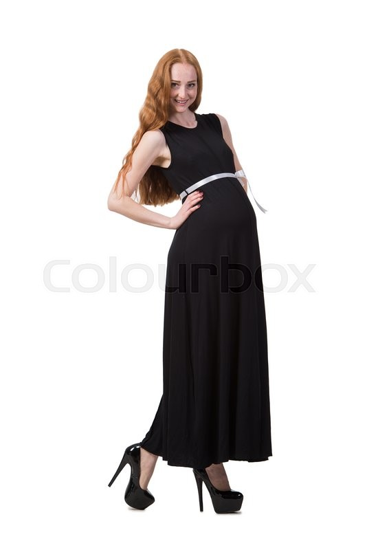 Stock image of 'Pregnant woman isolated on the white'
