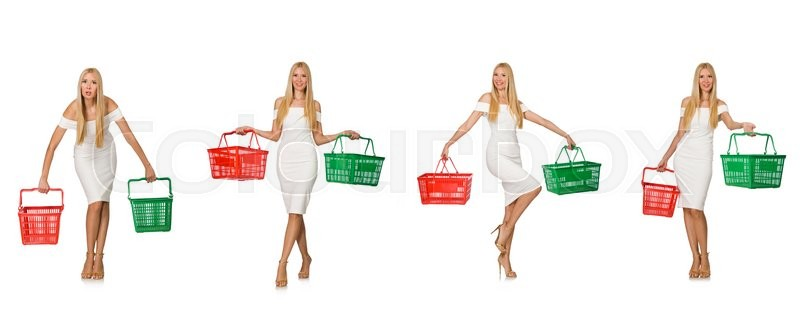 Stock image of 'Woman in shopping concept isolated on white'
