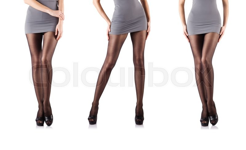 Stock image of 'Woman with tall legs isolated on white'