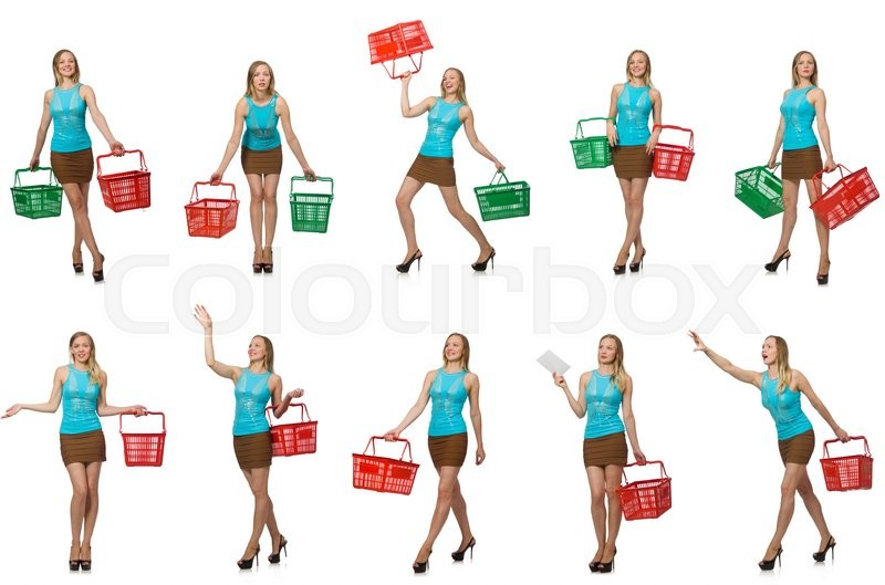Stock image of 'Composite photo of woman with shopping basket'