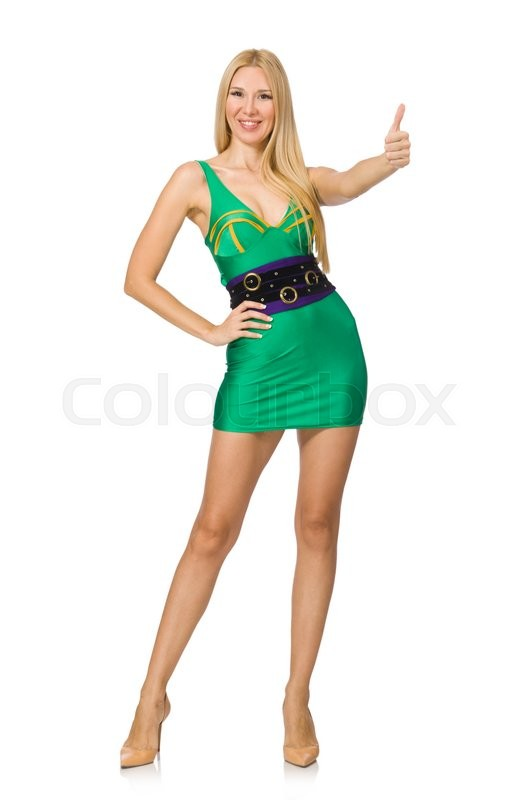 Stock image of 'Tall model in mini green dress isolated on white'