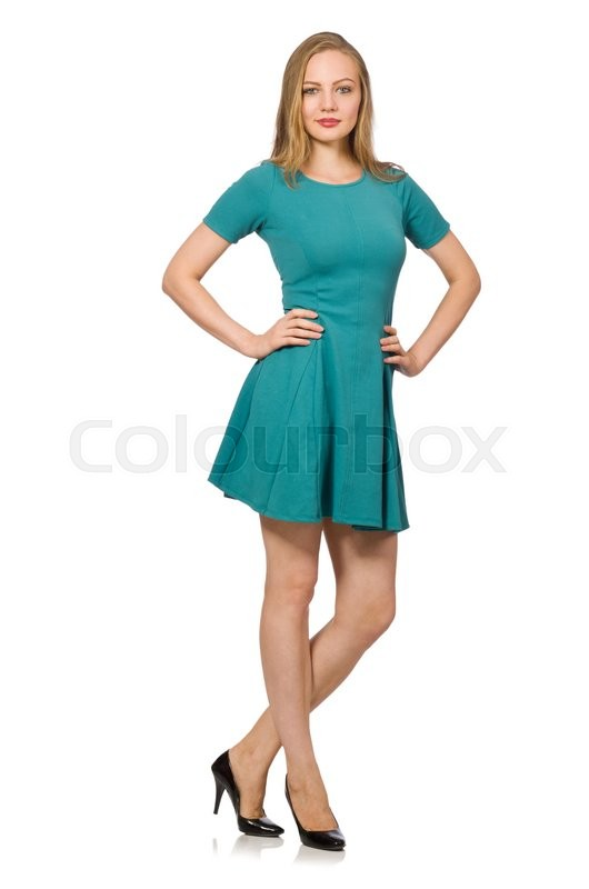 Stock image of 'Charming caucasian woman wearing green dress isolated on white'