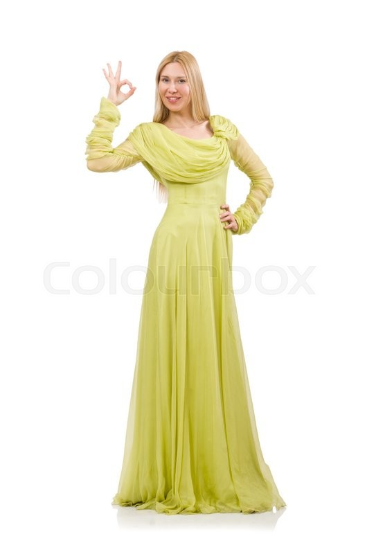 Stock image of 'Young woman in elegant long green dress isolated on white'