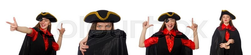 Stock image of 'Woman pirate in various concepts on white'