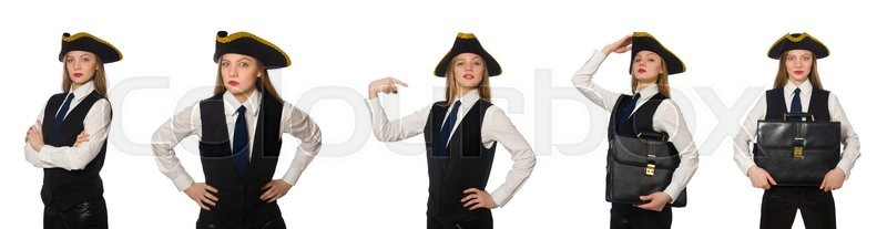 Stock image of 'Woman boss pirate isolated on the white'
