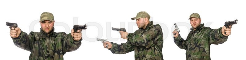 Stock image of 'Soldier with gun isolated on the white'