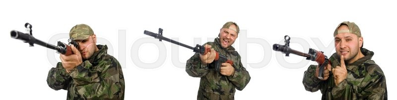 Stock image of 'Soldier with sniper rifle isolated on white'