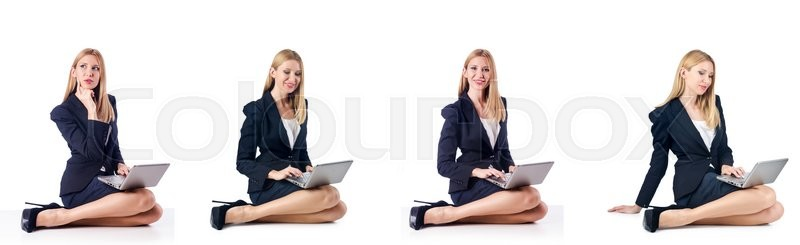 Stock image of 'Businesswoman with laptop isolated on white background'