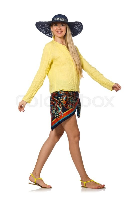 Stock image of 'Tall caucasian model wearing hat isolated on white'