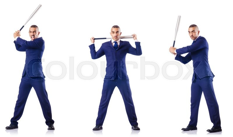 Stock image of 'Handsome businessman with bat on white'