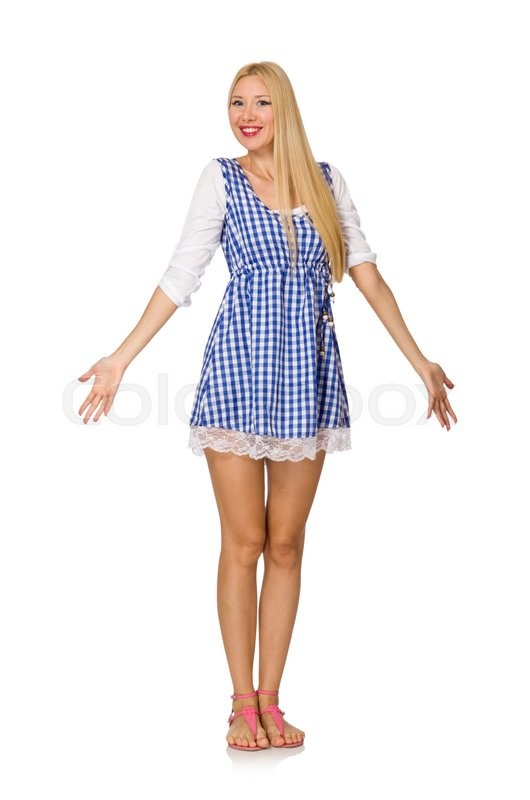Stock image of 'Caucasian woman in plaid blue dress isolated on white'