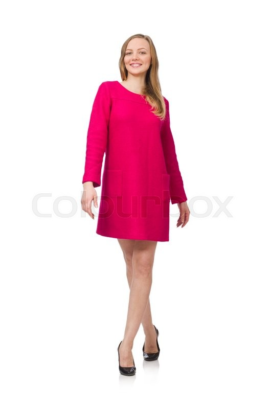 Stock image of 'Pretty girl in pink dress isolated on white'