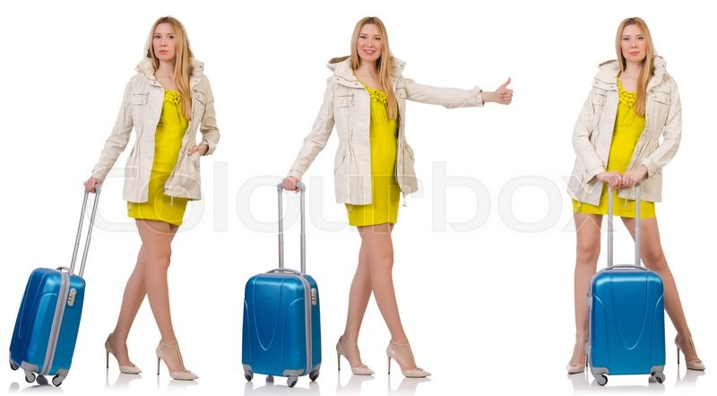 Stock image of 'Woman preparing for vacation with suitcase on white'