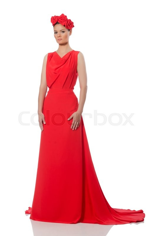 Stock image of 'Pretty caucasian model in red long evening dress isolated on white'