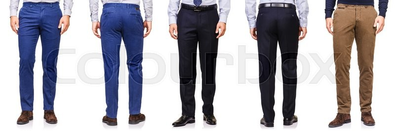 Stock image of 'Fashion concept with trousers on white'