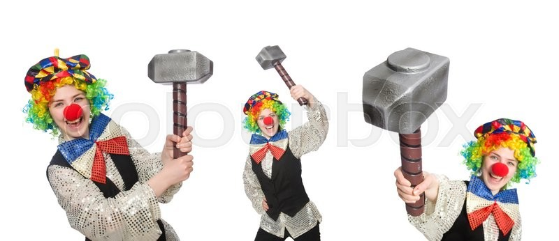 Stock image of 'Clown in various poses isolated on white'
