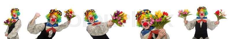 Stock image of 'Female clown isolated on white'