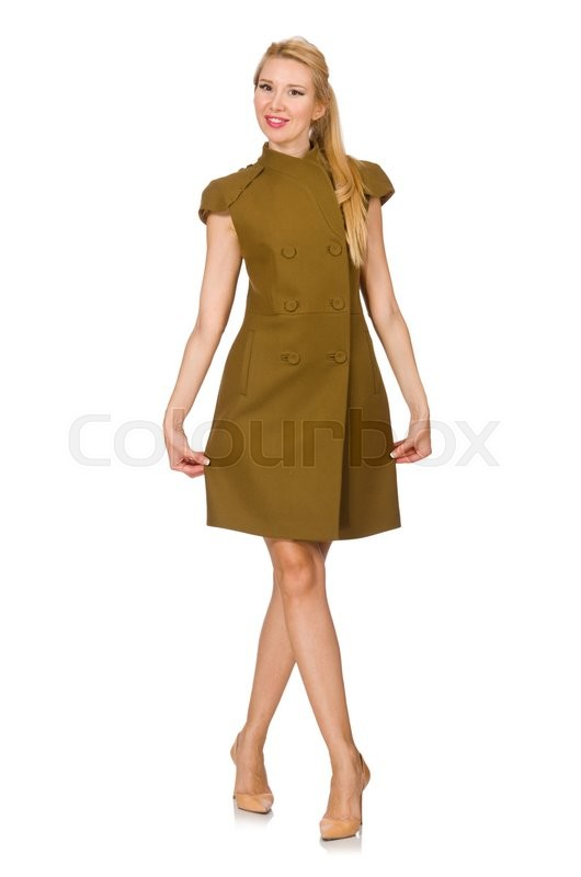 Stock image of 'Tall caucasian model in green dress isolated on white'