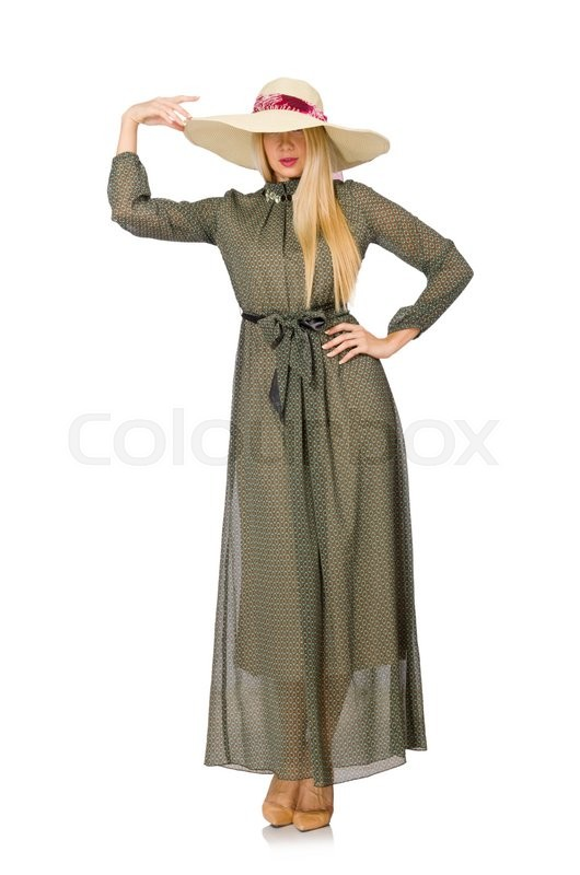 Stock image of 'Blond hair woman in long green dress isolated on white'