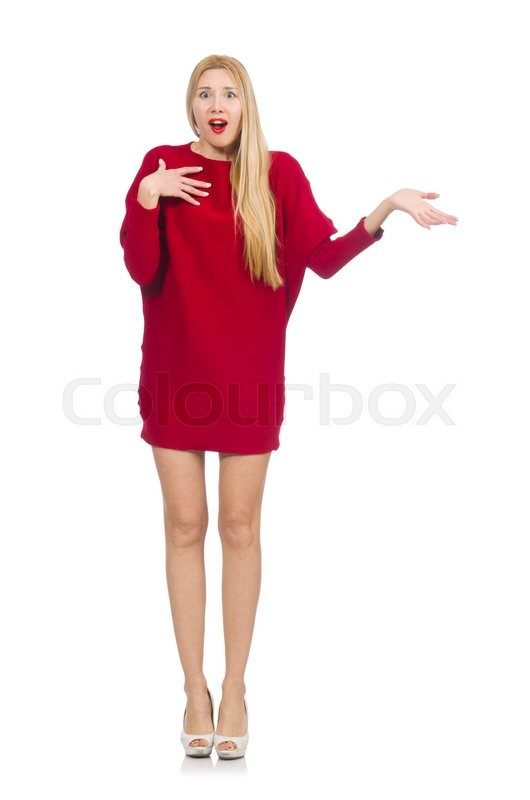 Stock image of 'Pretty girl in red dress isolated on white'