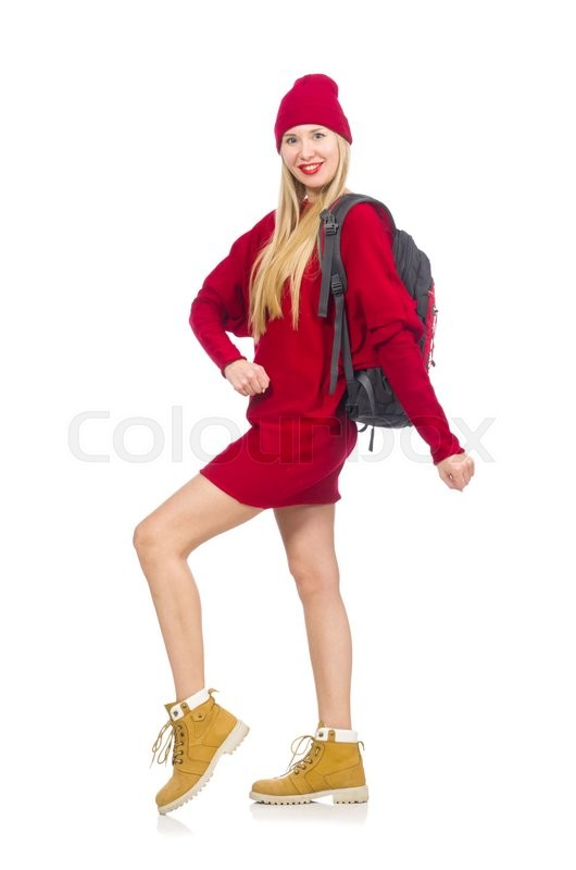 Stock image of 'Pretty girl in red dress and backpack isolated on white'
