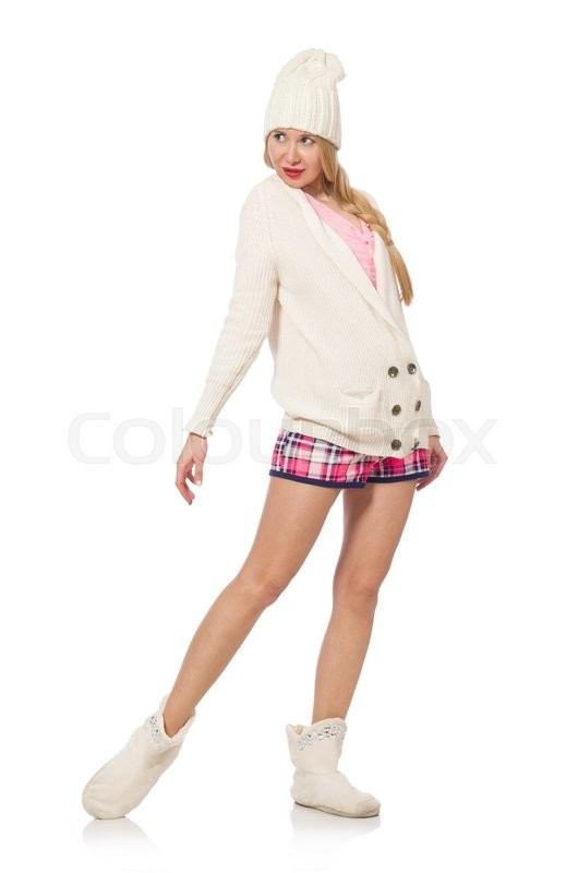 Stock image of 'Pretty smiling girl in pink jacket isolated on white'