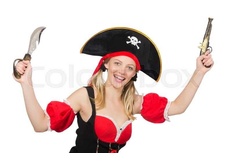 Stock image of 'Woman in pirate costume - Halloween concept'