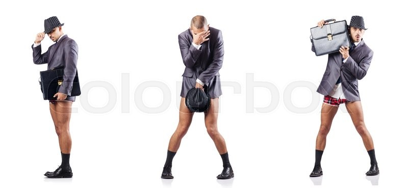 Stock image of 'Composite photo of naked businessman on white'