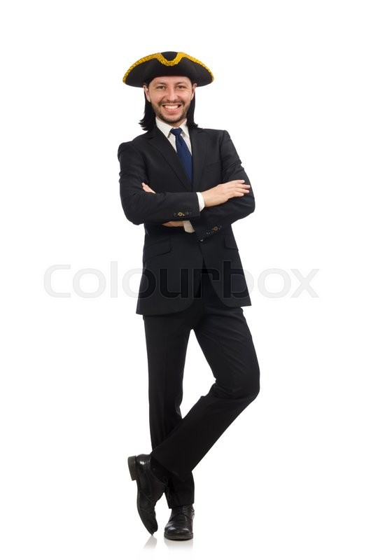 Stock image of 'Young businessman wearing tricorn isolated on white'