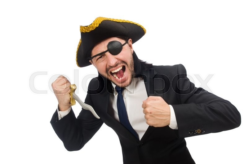 Stock image of 'Pirate businessman with sabre isolated on white'