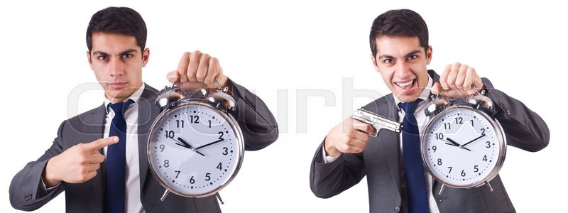 Stock image of 'Man with clock isolated on white'