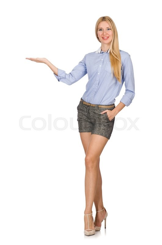 Stock image of 'Blondie girl in gray tweed shorts isolated on white'