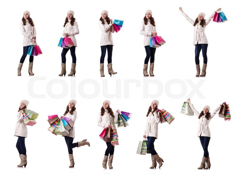 Stock image of 'Woman in winter clothing doing christmas shopping'