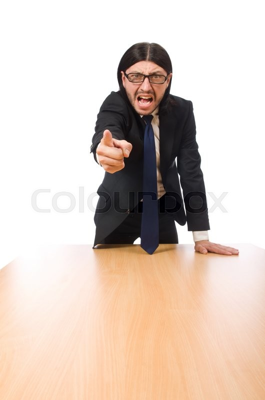 Stock image of 'Young businessman swearing  isolated on white'