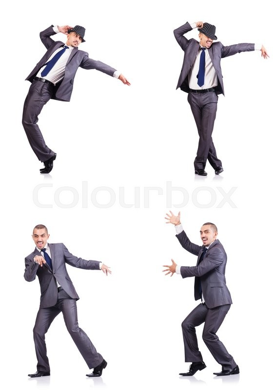 Stock image of 'Dancing businessman isolated on white'