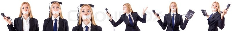 Stock image of 'Businesswoman with phone in censorship concept'