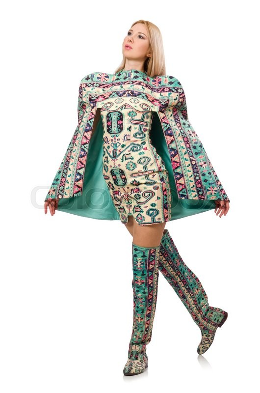 Stock image of 'Model wearing dress with Azerbaijani carpet elements isolated on white'