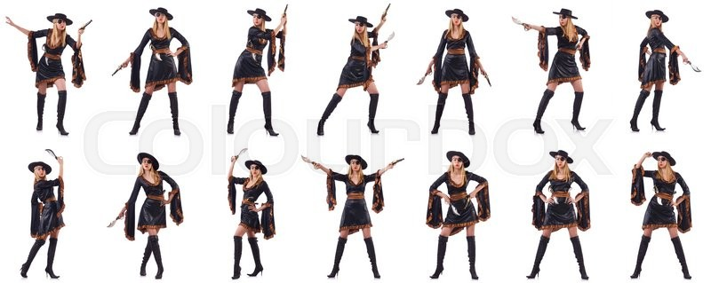 Stock image of 'Woman pirate in various poses on white'
