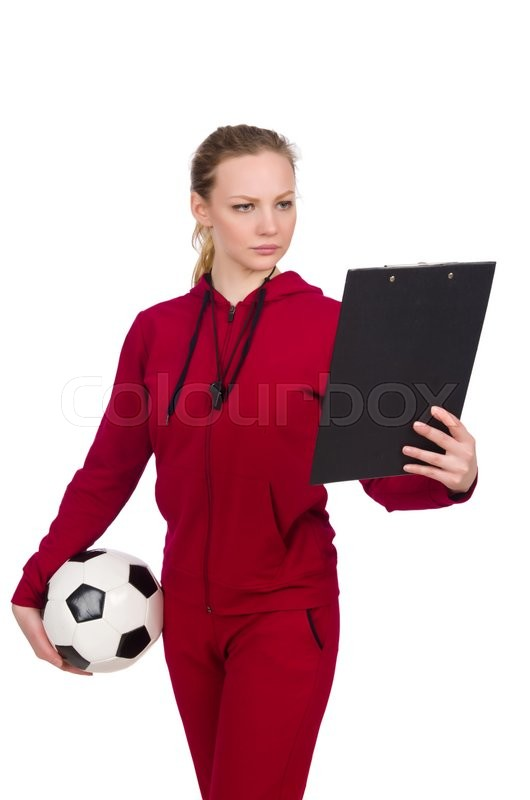 Stock image of 'Woman in sports concept isolated on white'