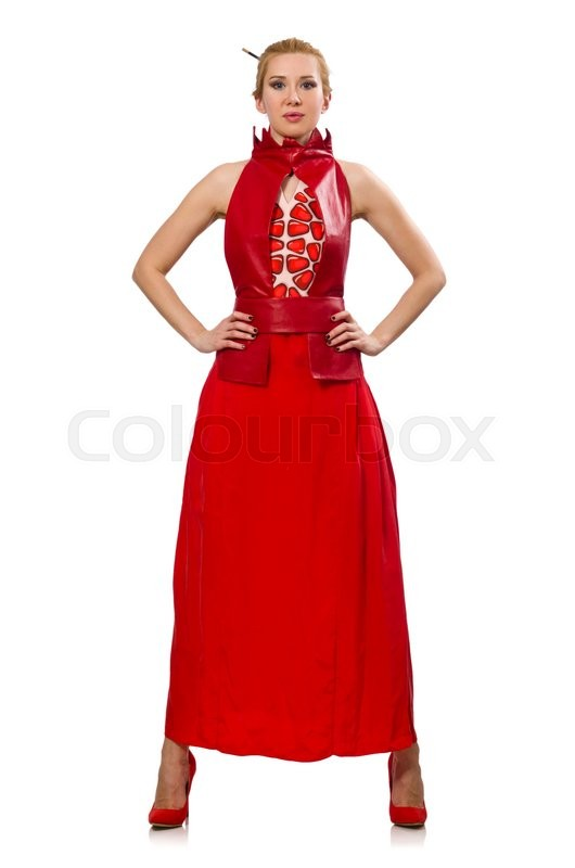 Stock image of 'Blond hair model in dress with pomegranate isolated on white'